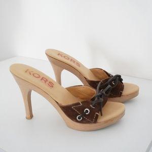 MICHAEL KORS Suede/Wood Tie Accent Slide Sandals